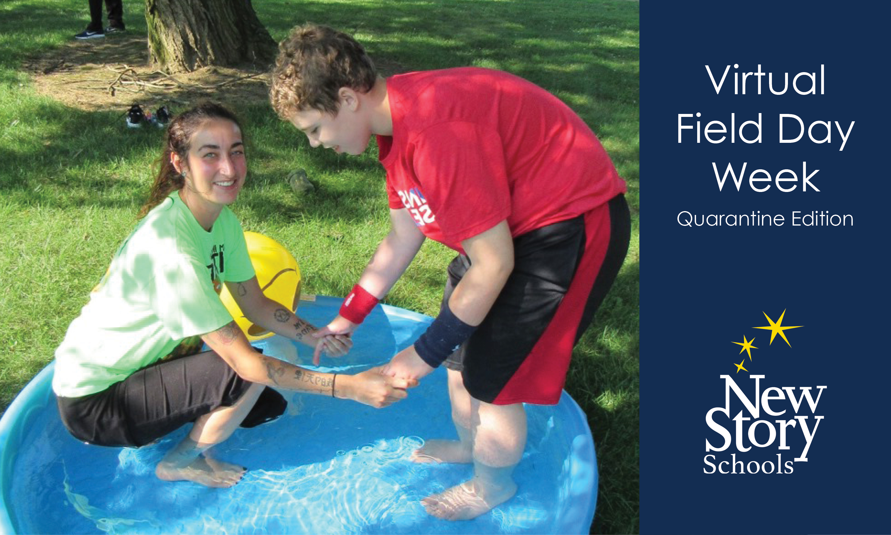 "Teacher and Student in wading pool. Title says, ""Virtual Field Day Week: Quarantine Edition."""