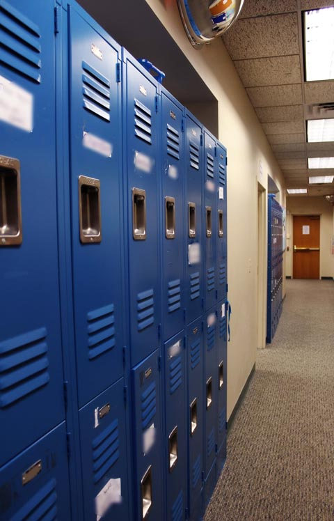 Blue lockers line the wall at a special education school