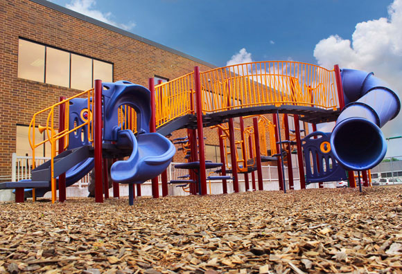 Playground equipment waits for students to come play in Harrisburg, PA