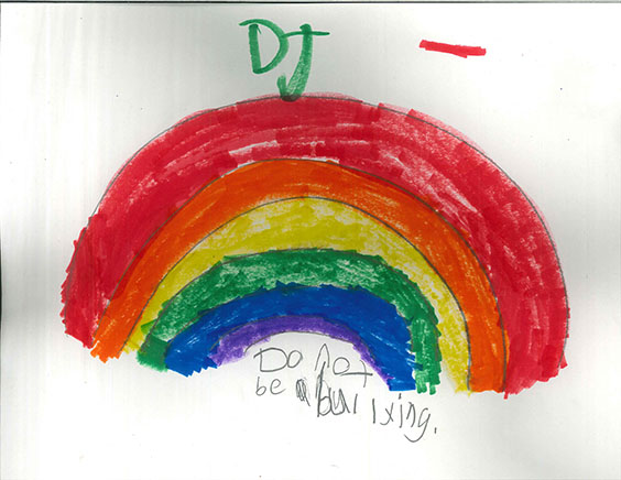 "Student's artwork--bold, fat rainbow in marker. In pencil, under neath: ""Do not be a bullying"""
