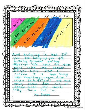 Photocopied page of student's response to anti-bullying. Colorful top, green marker bottom with a paragraph about anti bullying.
