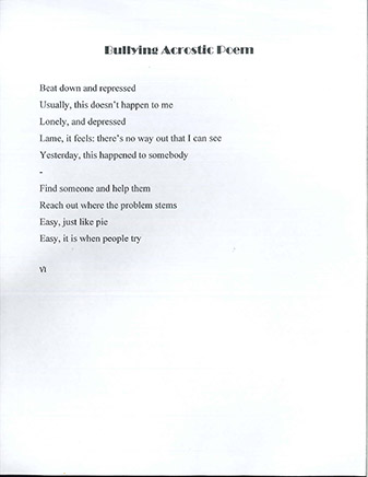Poem about not being a bully.