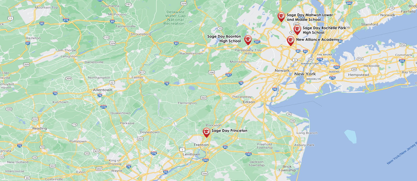 Map of New Jersey state showing New Story Sage Day School Locations