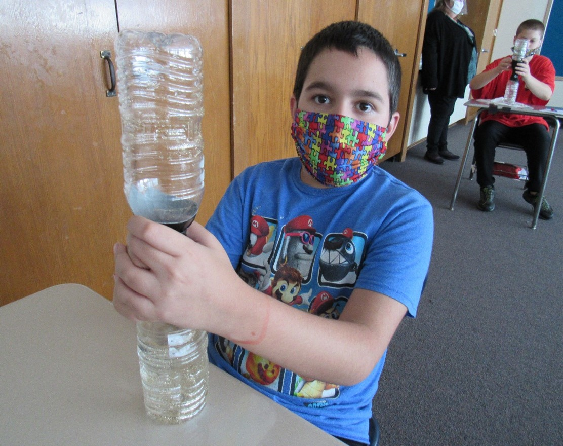 Students learned about tornadoes in class, then got to make their own bottle tornadoes.
