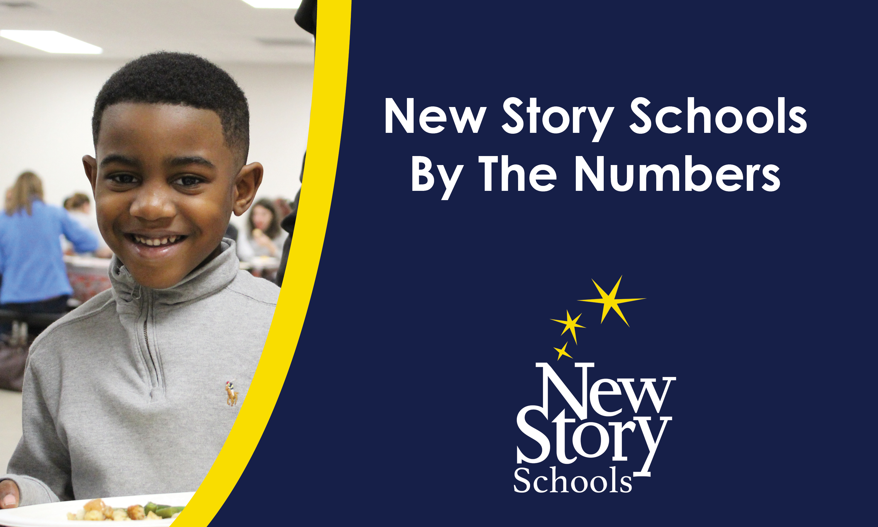 Title: New Story Schools By The Numbers; Picture of a cute young boy holding a plate of food