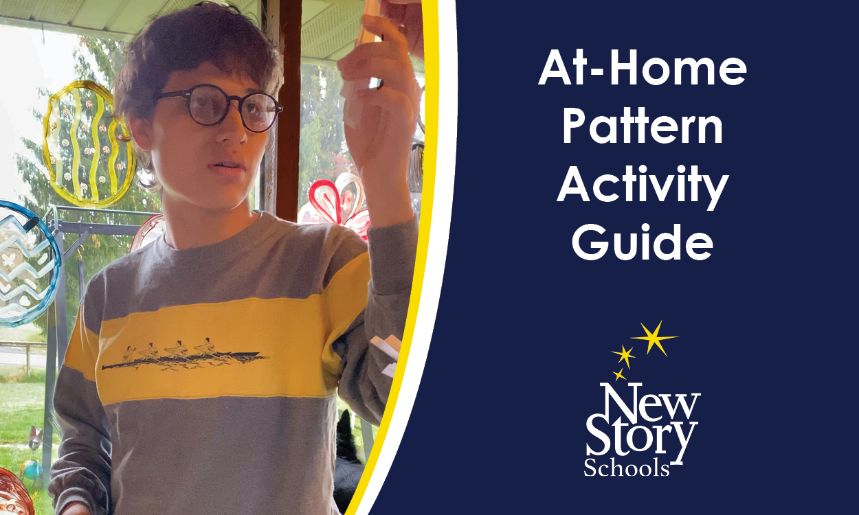 Student reaches for slip of paper. Title: At-Home Pattern Activity Guide