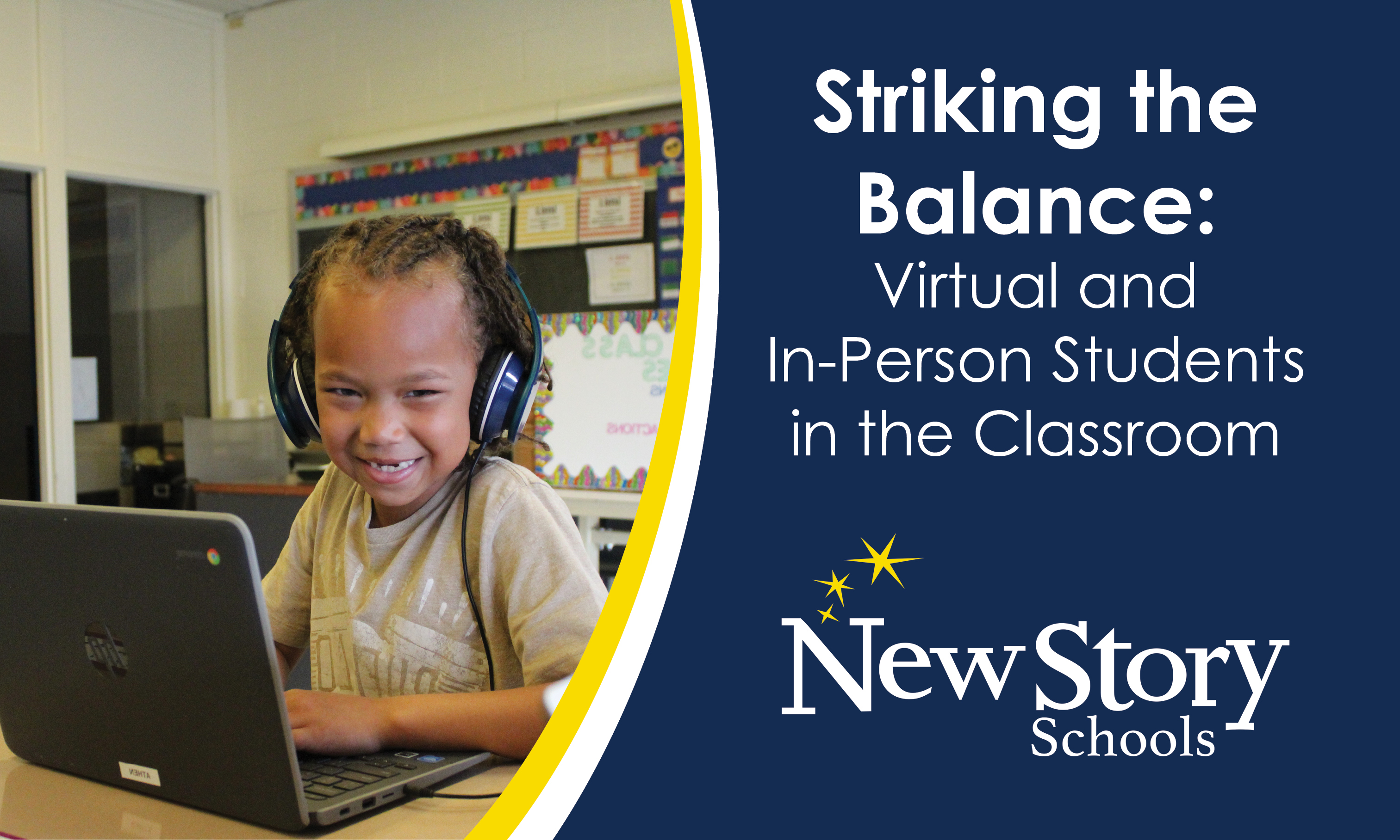 Student with headphones on and working at a laptop in the classroom. She is smiling. Title: Striking the Balance: Virtual and In-Person Students in the Classroom