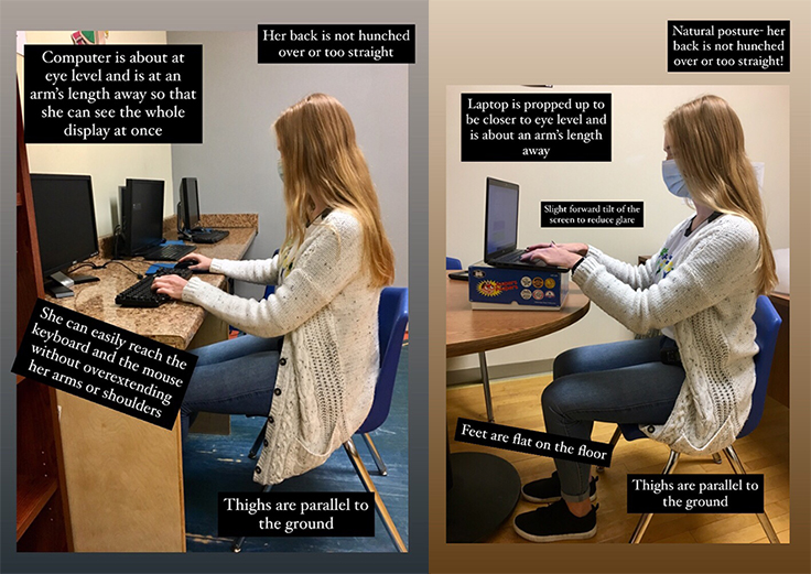 Demonstration of how to sit properly at your workstation.